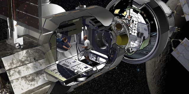 Lockheed Martin artist rendering of the NextSTEP habitat docked with Orion in cislunar orbit as part of a concept for the Deep Space Gateway. Credit: Lockheed Martin