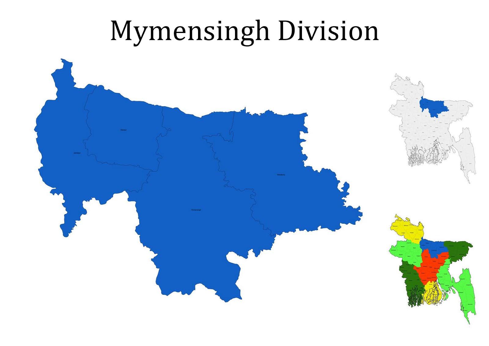 Mymensingh Division Map Bangladesh