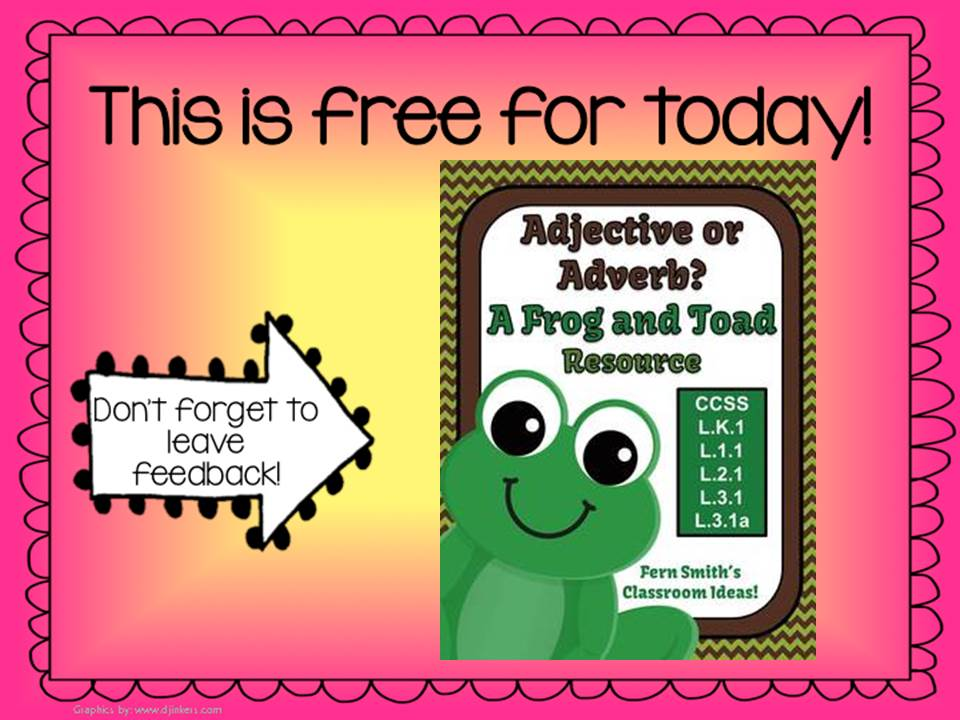 Fern Smith's Classroom Ideas Terrific Throwback Thursday FREEBIES - Adjective or Adverb? A Frog and Toad Resource for Common Core
