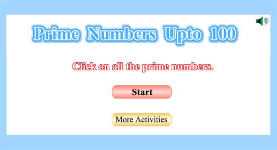 Juego para reconocer los números primos desde el 1 al 100