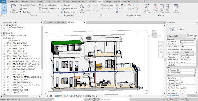 Giao diện thiết kế nhà phố bằng revit