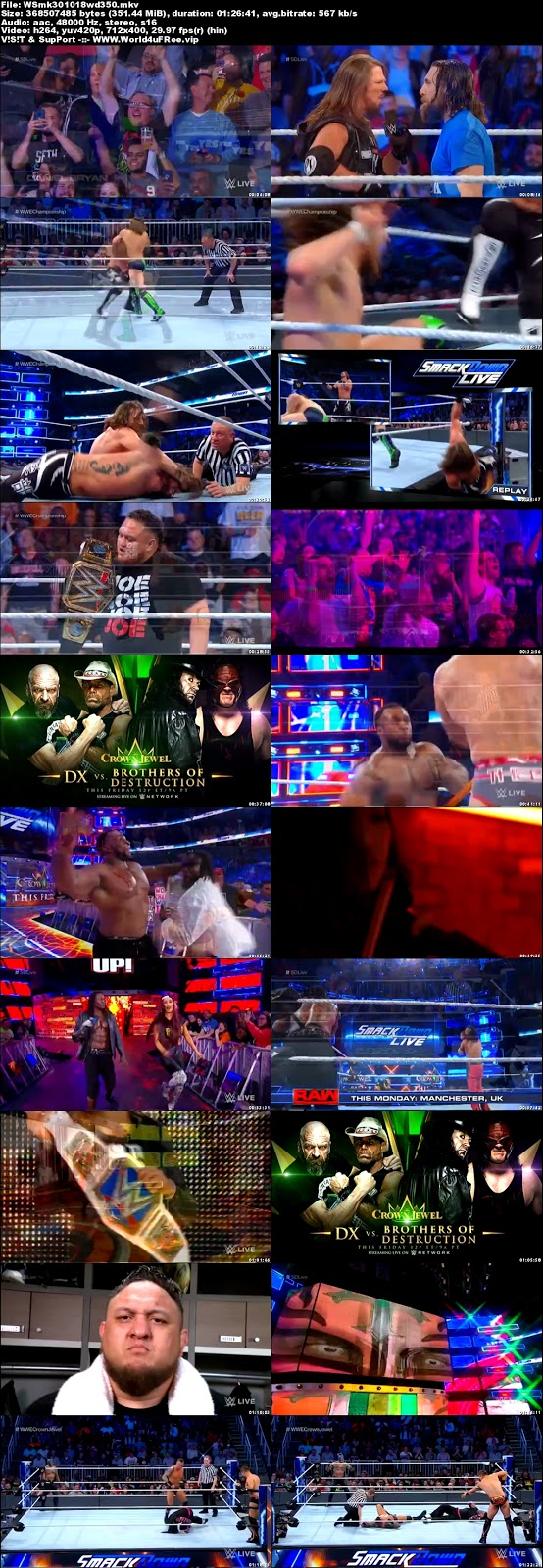 WWE Smackdown Live 30 OCTOBER 2018 HDTV 480p 350MB x264 tv show wweWWE Smackdown Live 30 OCTOBER 2018 HDTV 480p 300MB x264 compressed small size free download or watch online at world4ufree.fun