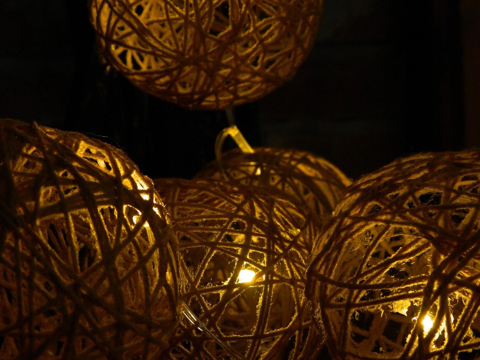 cotton balls/kule świetlne diy