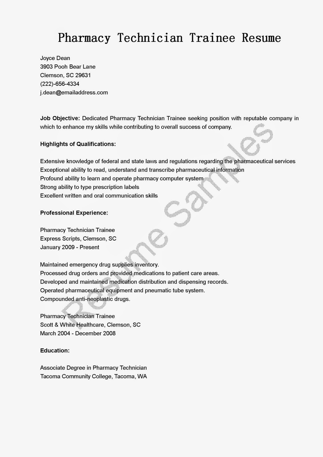 resume samples  pharmacy technician trainee resume sample
