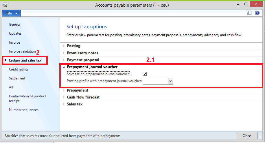 Payments in advance ( prepayment ) To a Vendor   AX 2012
