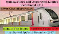 Mumbai Metro Rail Corporation Limited Recruitment 2017– 90 Interns