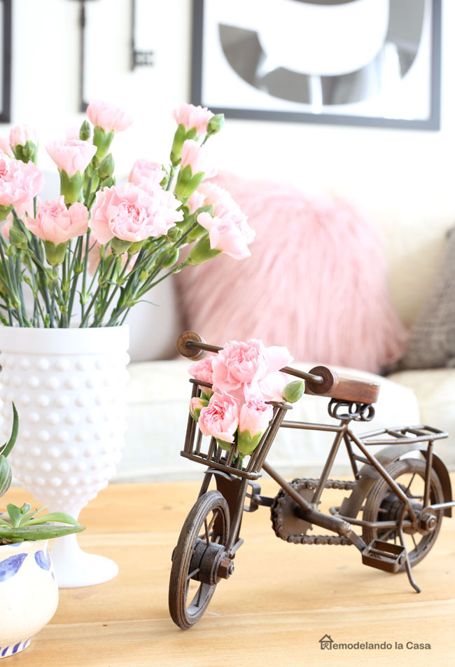 Little bicycle and pink carnations - Spring decor