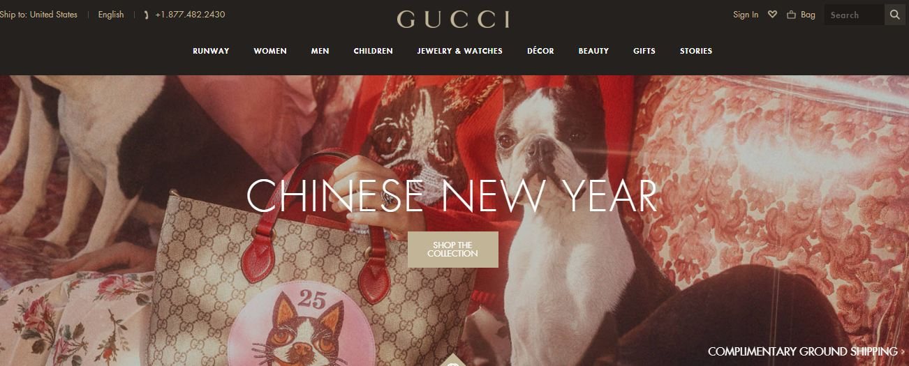 86188b03b2bde ... de 2019 - o Ano Novo Chinês inicia o Ano do Cachorro. E inspirado neste  fundamento, a Gucci comemora este ano com sua coleção inspirada no animal,  ...