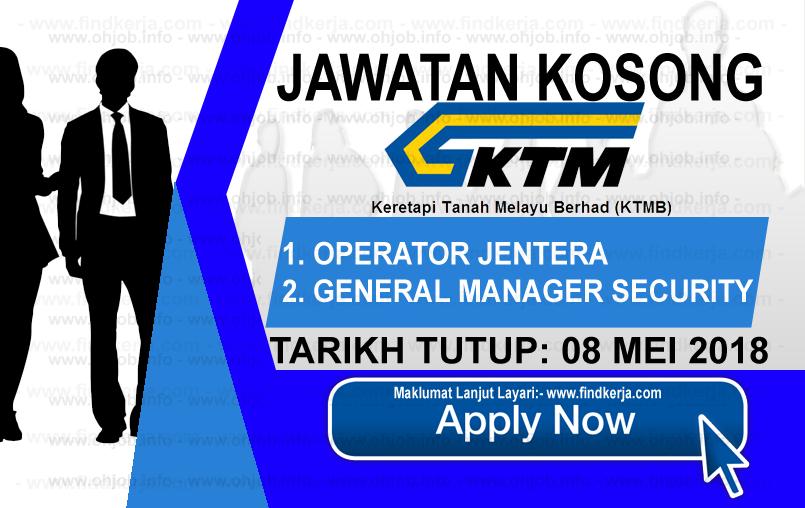 Jawatan Kerja Kosong KTMB - Keretapi Tanah Melayu Berhad logo www.findkerja.com mei 2018