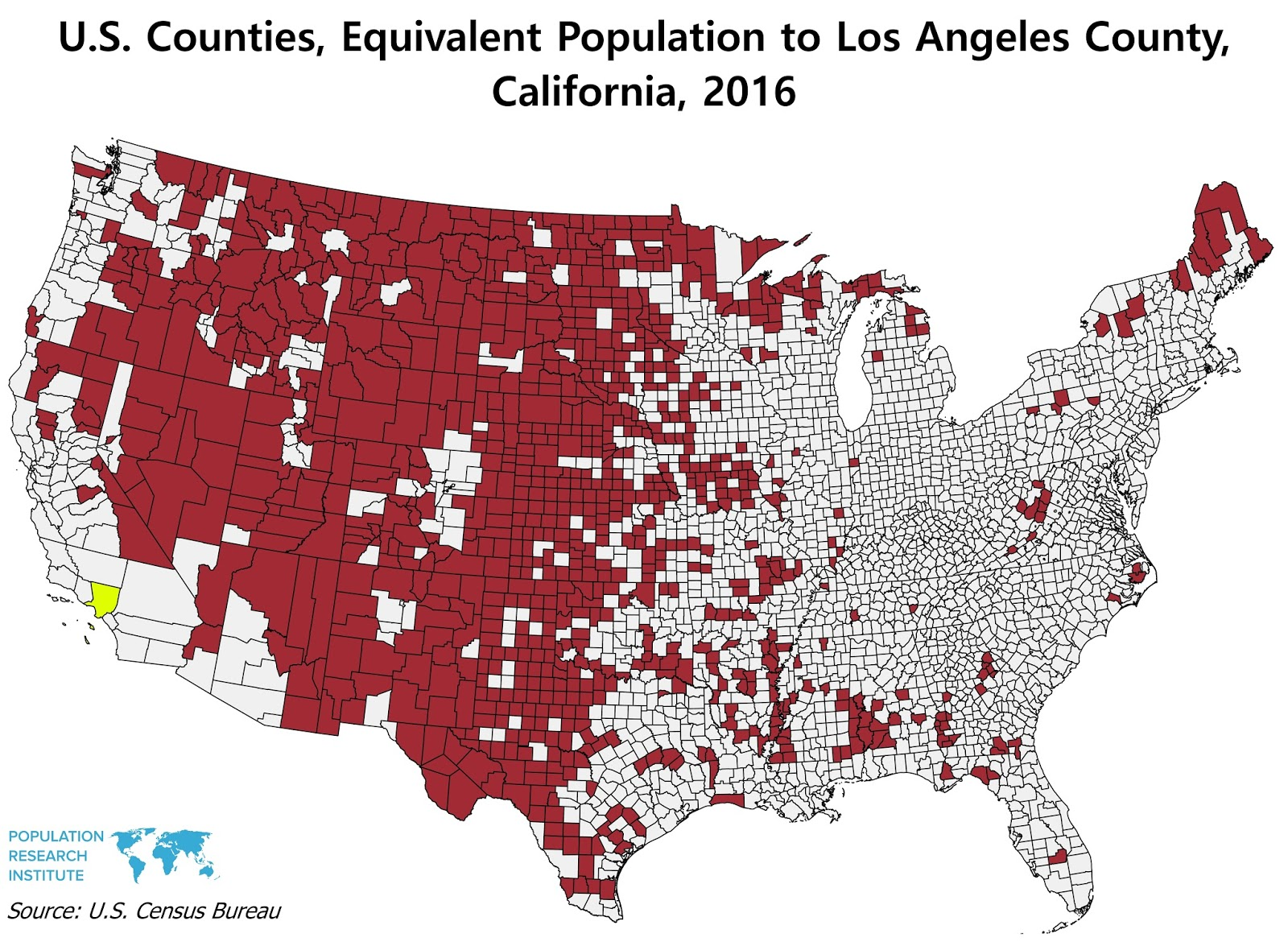 US Counties Equivalent Population To Los Angeles County Vivid Maps - 2016 population map us