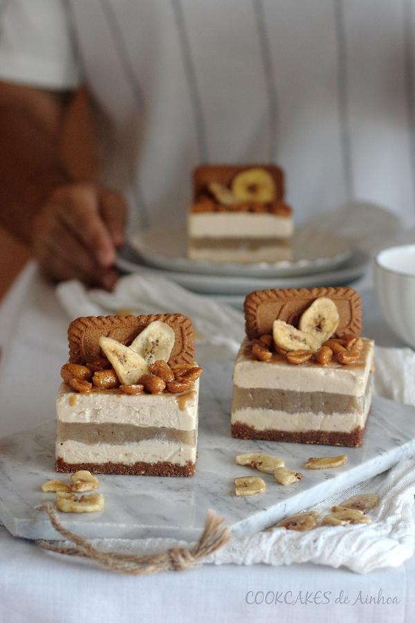 Mini tartas de mousse de cacahuete y plátano. Sin horno. Cookcakes de Ainhoa