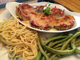 Eggplant Parmesan with buttered noodles and garden green beans