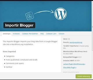 Plugins Blogger Importer
