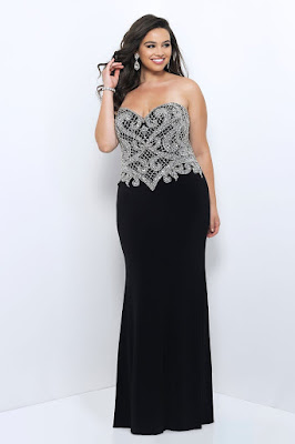 Beaded Bodice Jersey Plus Size Prom Evening Dress