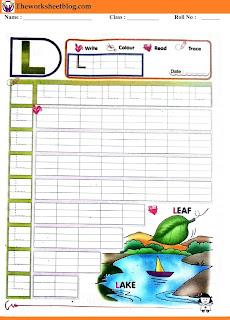 Alphabet L tracing worksheet