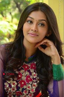 Actress Pooja Jhaveri Latest Stills in Purple Salwar Kameezt at Dwaraka Success Meet  0193.JPG