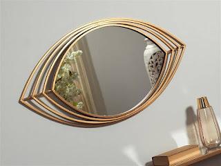 espejo de entrada en color oro