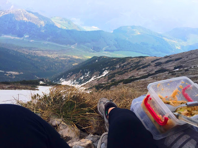 Amazing viewpoint for lunch while hiking on Monte Baldo. Snowy in summer.