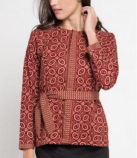 Model keempat Baju Batik Atasan Wanita Lengan Panjang
