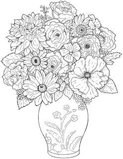 Цветы-раскраски сложные