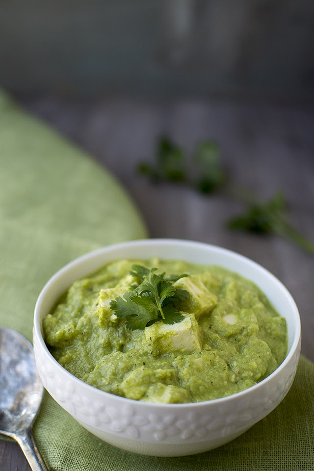 Spicy Green Curry with Paneer
