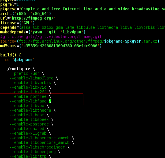 Thoughts  Linux  Scripts  Programming : Archlinux: Compile ffmpeg