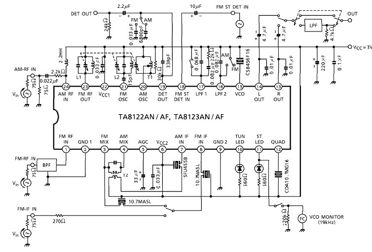 TA8122 bassed AM-FM radio receiver elect circuit with