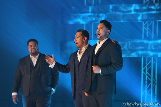 "L-R: Pene Pati, Moses Mackay, Amitai Pati - Sol3 Mio, nationwide ""On Another Note"" tour, at Pettigrew.Green Arena, Taradale, Napier. photograph"