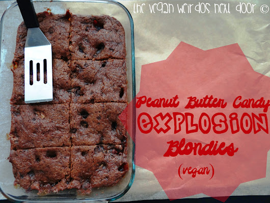 Peanut Butter Candy Explosion Blondies (Vegan); Lazy Person's Hack & Go Max Go Giveaway