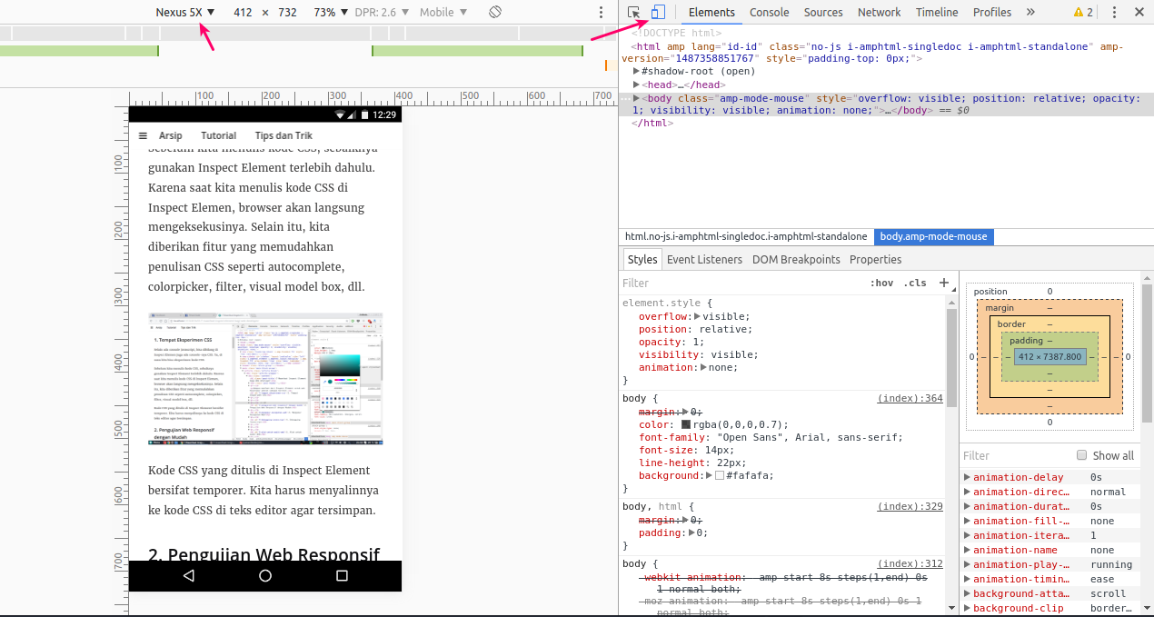 Pengujian tampilan responsive web di inspect element