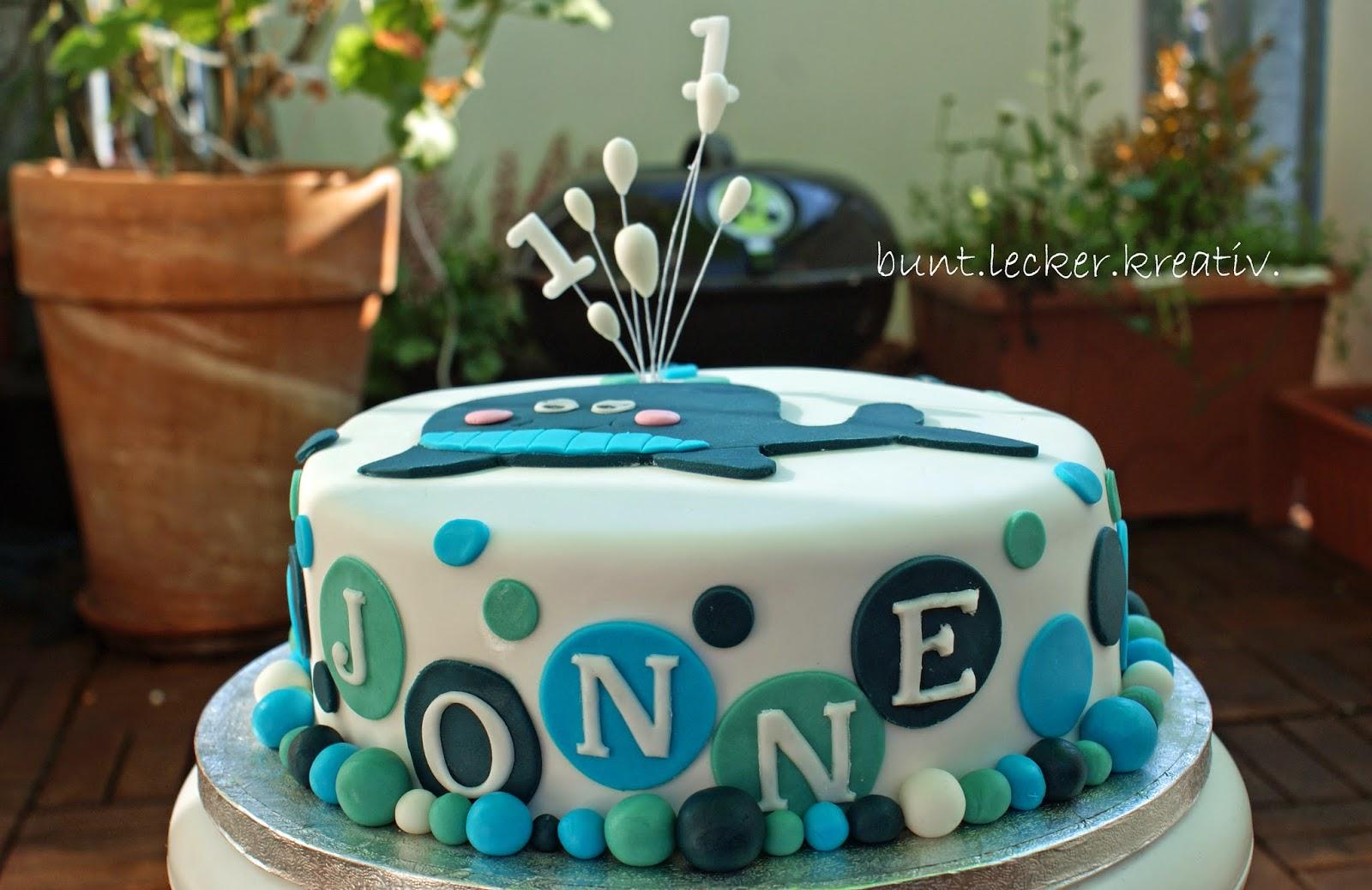 buntleckerkreativ Wal Torte zum 1 Geburtstag