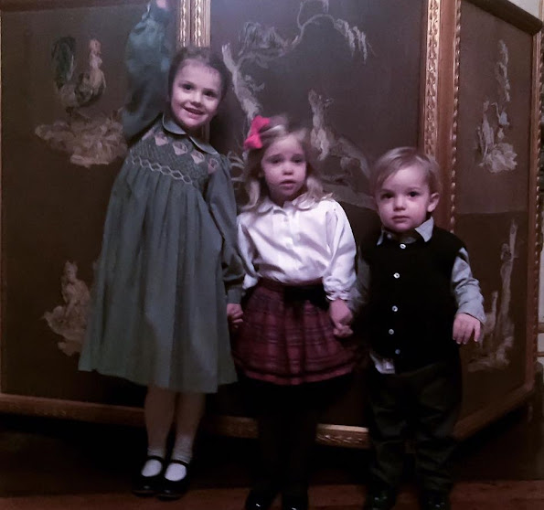 Princess Madeleine, Princess Estelle, Princess Leonore and Prince Nicolas, Princess Estelle wears old dresses of her mother