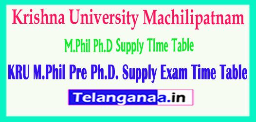 KRU Krishna University Machilipatnam M.Phil Ph.D Supply TIme Table 2018