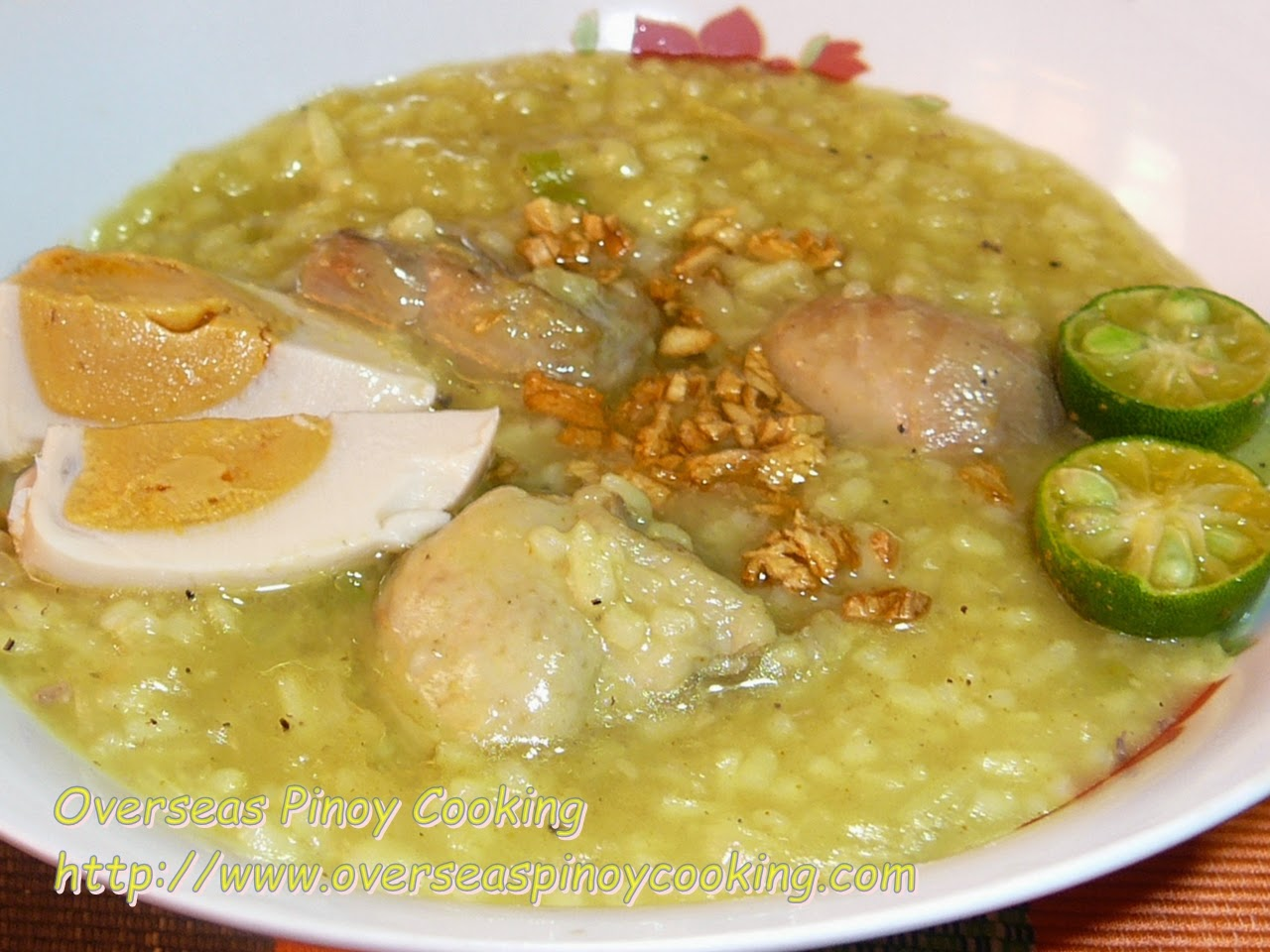 Chicken Arroz Caldo with Salted Egg