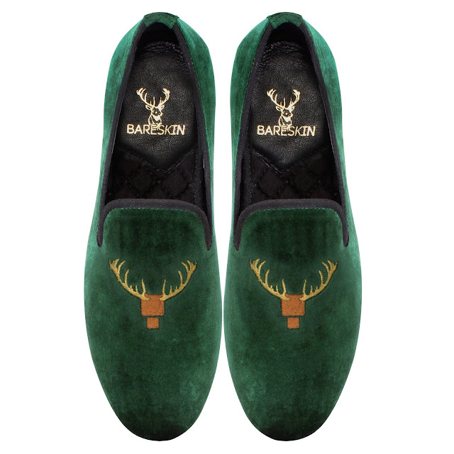 BARESKIN  GREEN VELVET SLIP-ON SHOES WITH  SPECIAL DEER HEAD DESIGN EMBROIDERY