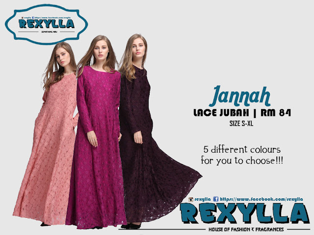 rexylla, lace jubah, jannah collection