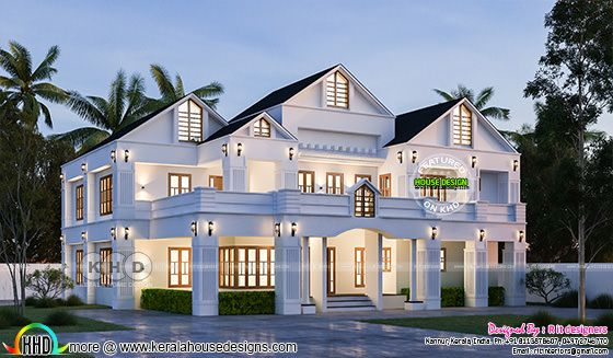 Night view rendering of  sloping roof luxury house