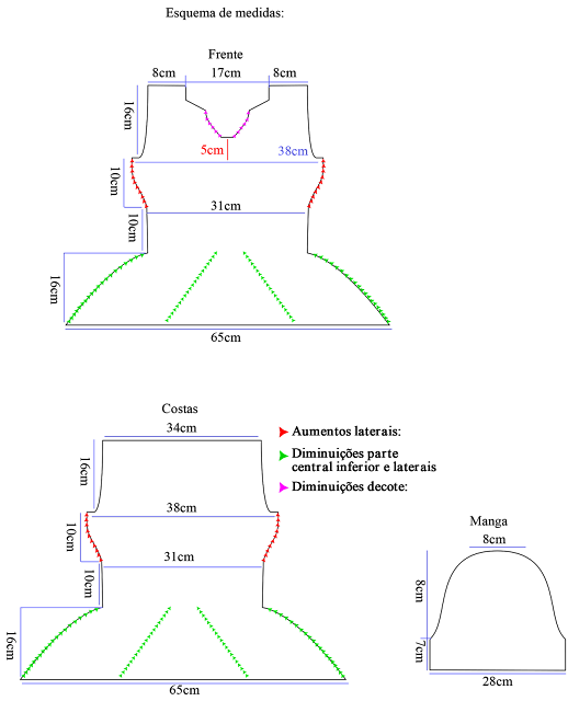 Blusa Peplum de Tricô - Passo a Passo com Gráfico