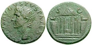 Монета: Дупондий. Консекрационная монета Тиберия в честь Божественного Августа.  ТИБЕРИЙ Клавдий Нерон