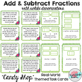 Adding Subtracting Fractions Unlike Denominators Task Cards Word Problems Models