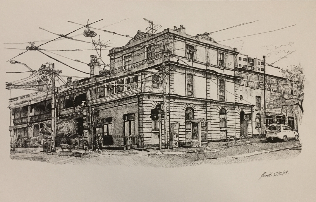 06-Brunswick-Street-Melbourne-Julia-Schmitt-Visual-Diary-Ballpoint-Pen-Urban-Sketches-www-designstack-co
