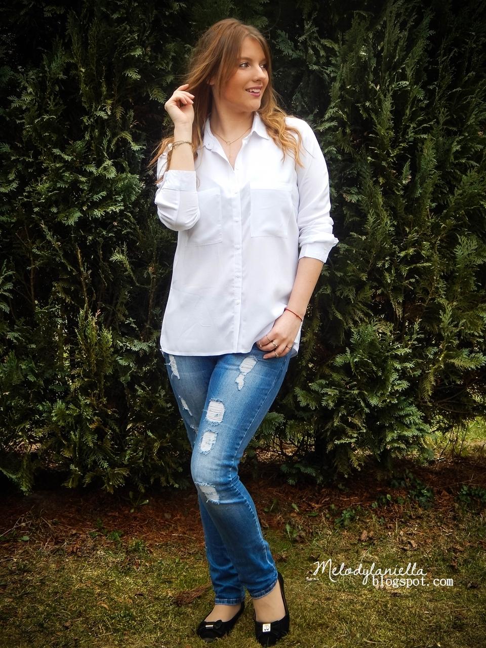 bonprix biała elegancka koszula jeansy style moda fashion