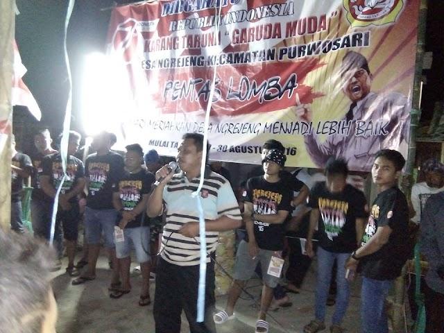 Kades Ngrejeng Buka  Lomba HUT RI 71 yang diadakan Kartar Garuda Muda Ngrejeng