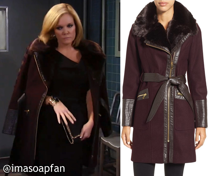 Ava Jerome, Maura West, Belted Wine Coat with Faux Leather and Faux Fur Trim, General Hospital, GH