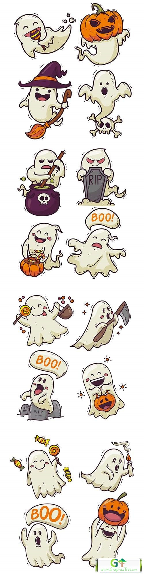 Halloween cartoon ghost drawn illustrations