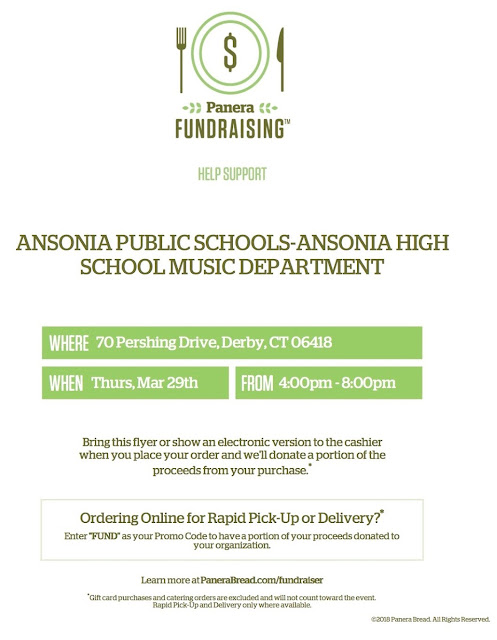 Eat at Panera Thursday, support Ansonia High School music department