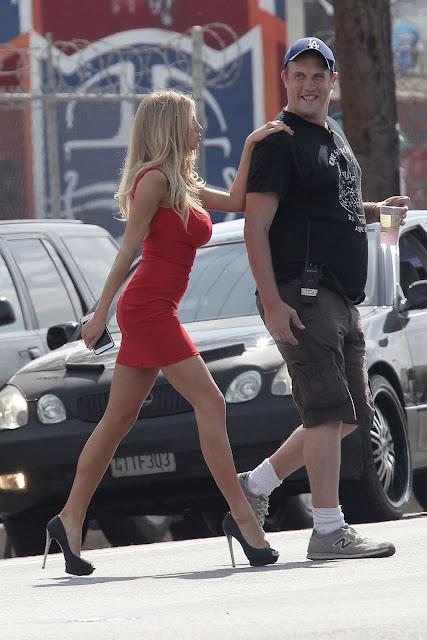 Charlotte Mckinney in Red Mini Dress out in LA