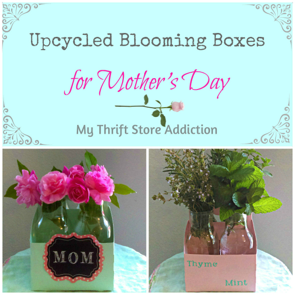 Upcycled Blooming Boxes for Mother's Day mythriftstoreaddiction.blogspot.com Create a blooming box for Mom instead of tossing your bottles and cartons!