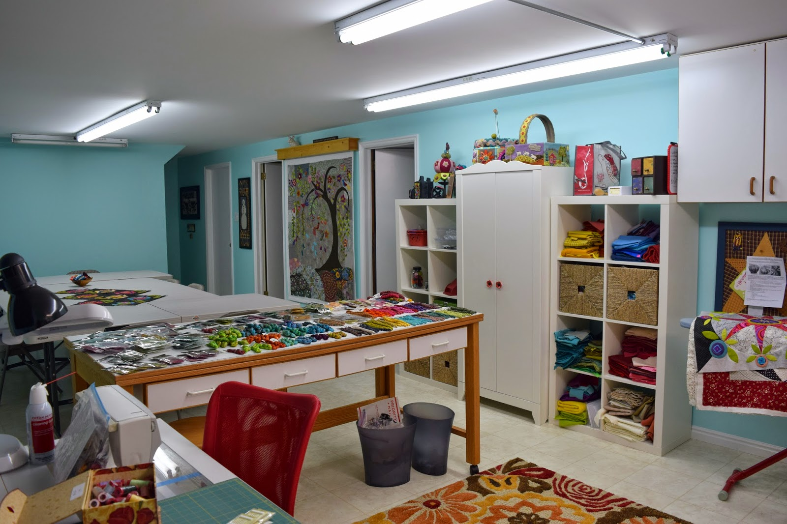 My New Sewing Room I Love All The Extra E Super Lighting Bright Wall Color Nice Rug And Rocking Chair That Unfortunately