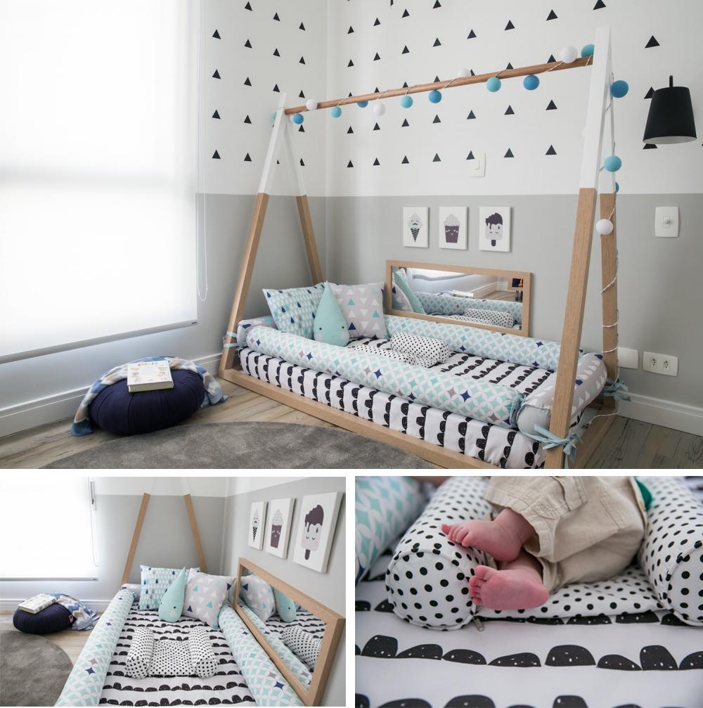 como decorar una habitación montessori para bebé sin cuna con cama a ras del suelo tipi y tonos neutros